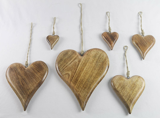 Mango Wood Set Of 6 Hanging Hearts Solid