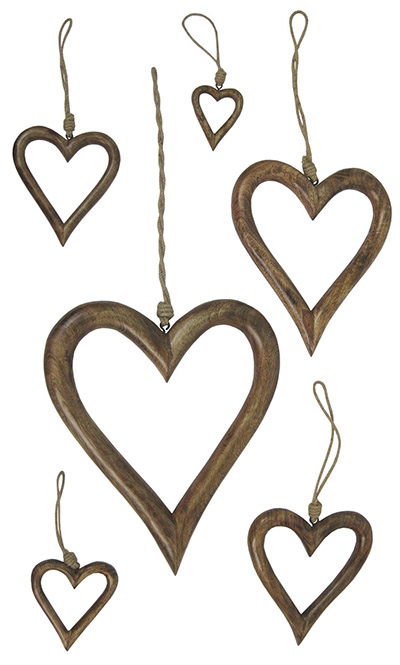 Mango Wood Set of 6 Hanging Hearts Hollow