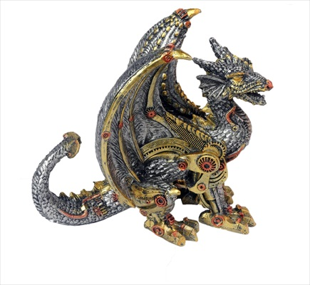 Steam Punk Design Dragon Statue Large