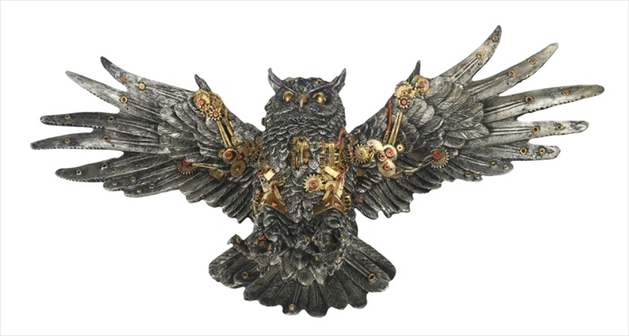 Steam Punk Design Owl Statue Wings Outstretched