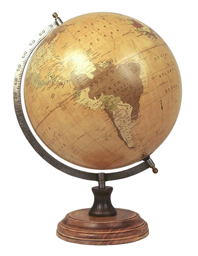 Large Globe on Wooden Base Dia 28cm