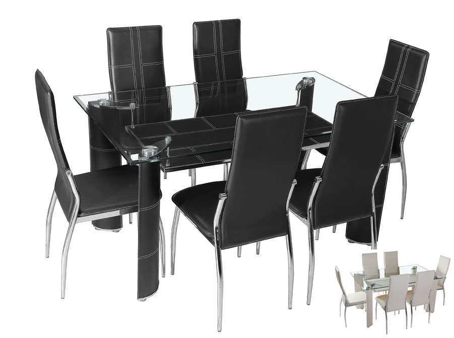 Mirko Glass Top Table & 6 Chairs