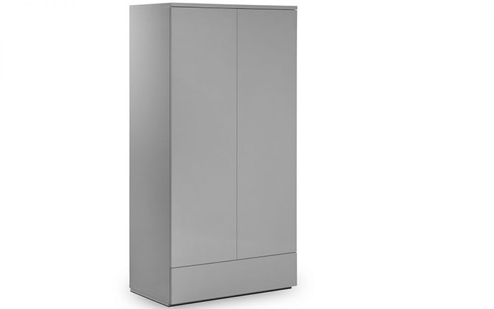 Monaco 2 Door 1 Drawer Wardrobe Grey High Gloss