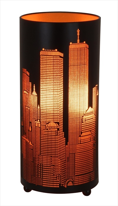 New York City Scape Table Lamp - Matt black & Orange