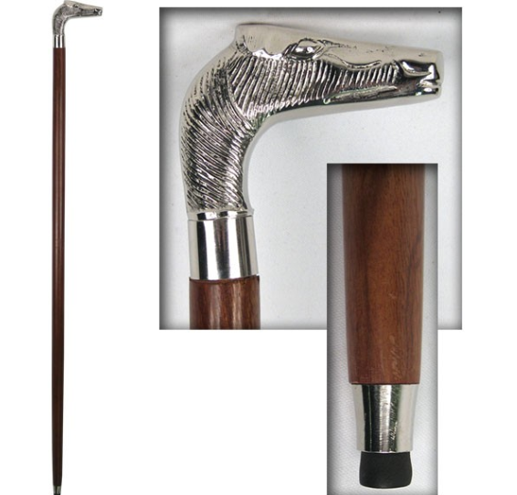NICKEL TOP HORSES HEAD WALKING STICK