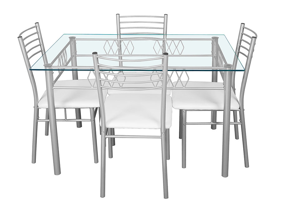 Osaka Glass Top Table & 4 Chairs