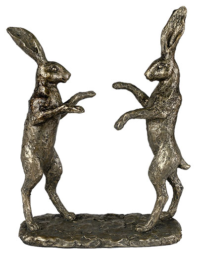 Cast Resin Dancing Hares