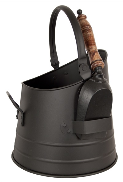 Round Bucket With Shovel Black Finish