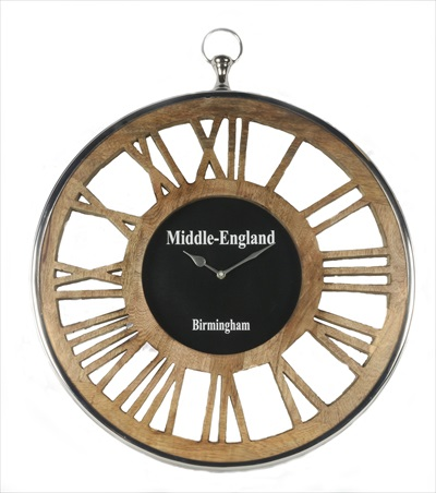 Round Wooden Clock With Roman Numeral