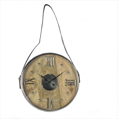Round Wood And Aluminium Clock Hanging From Leather Strap