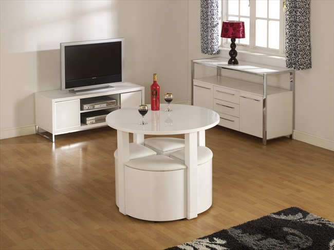 Charisma Black or White Gloss Stowaway Table & 4 Stools