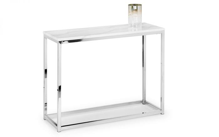 Scala White Marble Top Console Table