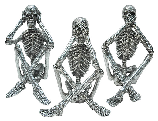 Set Of 3 Resin Hear, See, Speak No Evil Skeletons
