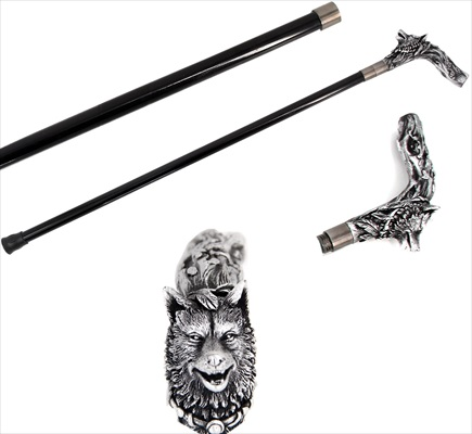 Silver Wolf Swagger Cane / Walking Stick