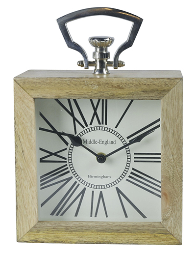 Square Desk Clock Wood And Nickel