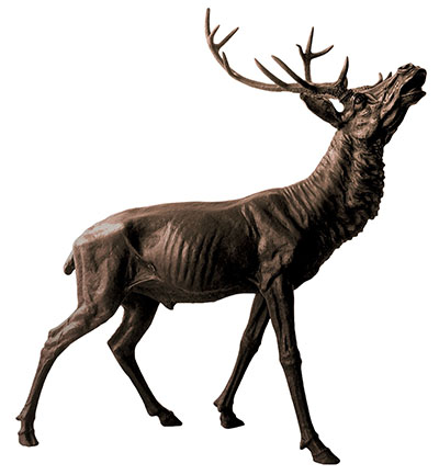 Stag Bronze Sculpture On Marble Base