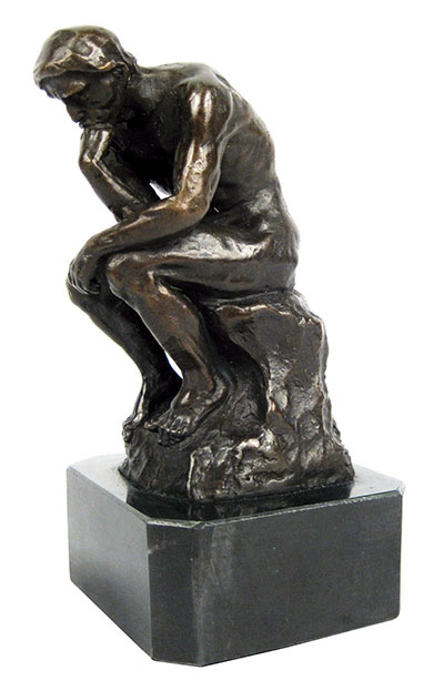 The Thinker Bronze Sculpture On Marble Base