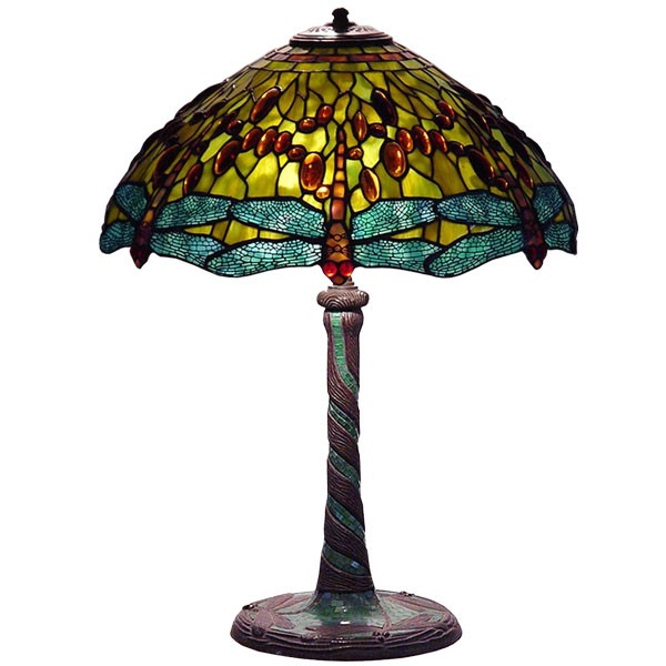 Tiffany Dragonfly Shade & Base Table Lamp Yellow