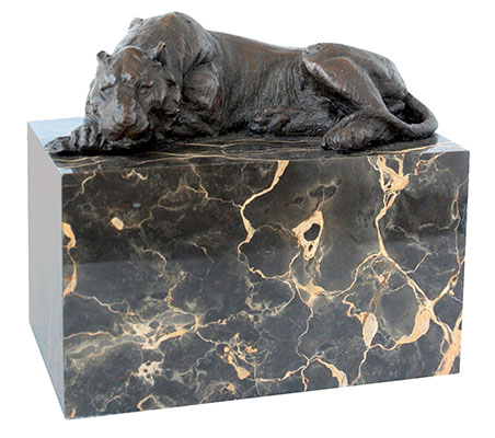 Tiger Bronze Sculpture On Marble Base