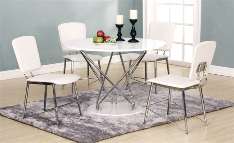 Uplands Round White High Gloss Table & 4 Chairs