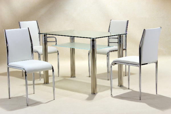 Vercelli Glass Top Dining Set clear