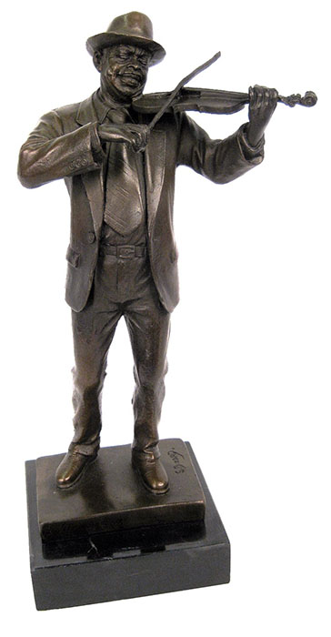 Violin Player Bronze Sculpture On Marble Base