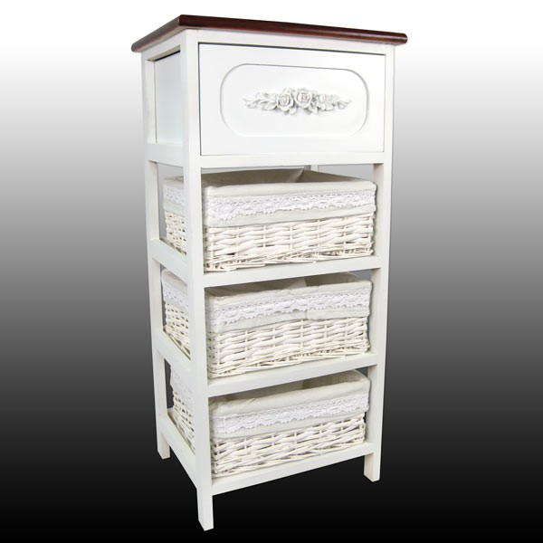 White 1 Drawer, 3 Basket Chest With Polished Top