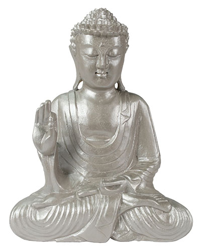 Wooden Buddha Hand Up Silver Finish