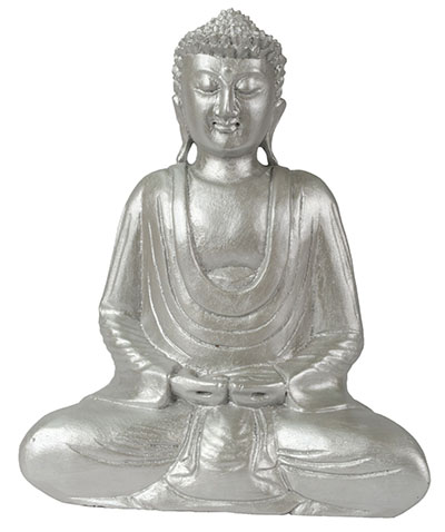 Wooden Buddha Hand In lap Silver Finish