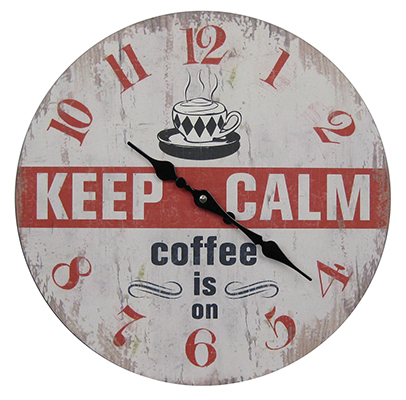 Wooden Clock keep Calm Coffee Is On