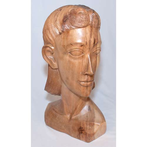 Wooden Lady Bust Natural Finsih