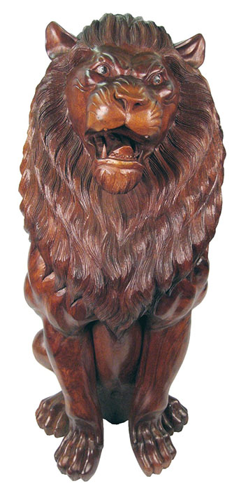 Wooden Lion Carving