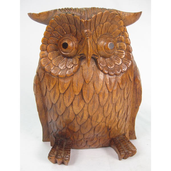 Wooden Owl 30Cm Brown Finish