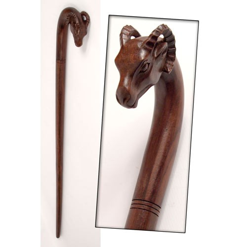 Wooden Ram Head Walking Stick
