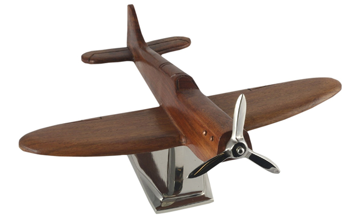 Wood Spitfire Plane With Aluminium Base