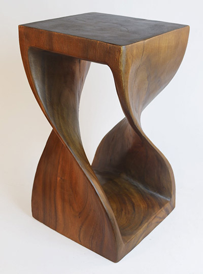 Wooden Twist Plant Stand Honey Finish