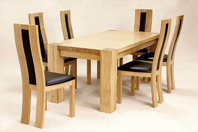 Zeus Oak with Oak Veneer Rectangulsr Table & 6 Chairs